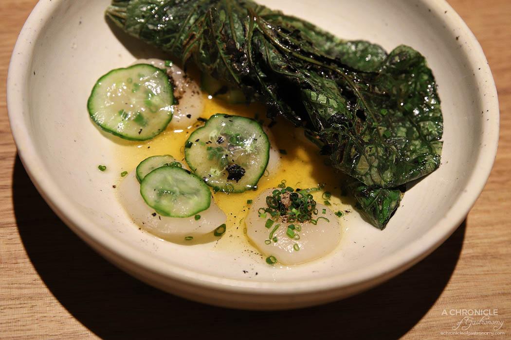 Sunda - Raw scallops, salted cucumber, andaliman pepper, charred betel leaf
