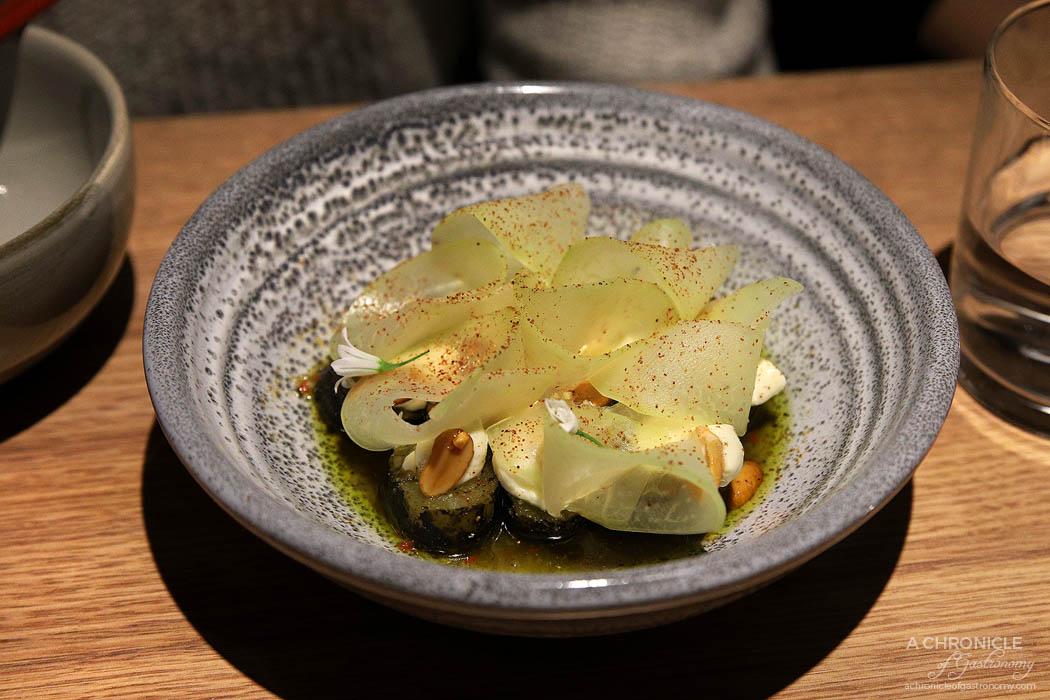 Sunda - Charred cucumber, laughing cow cheese, pickled green papaya, caramelised peanut, jungle curry, lemon myrtle