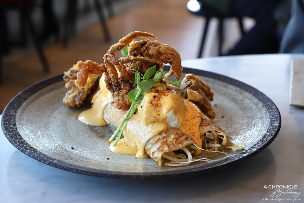 The Penny Drop - Mr Ssam Benedict - Fried soft shell crab, spring onion pancakes, beanshoot salad, poached eggs with kimchi hollandaise ($21)