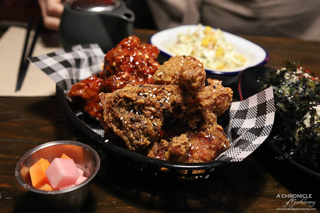 Goodovening - 8 pieces Korean Fried Chicken - Soy Garlic, Hot Chilli ($18) Rice Ball ($5 ea)