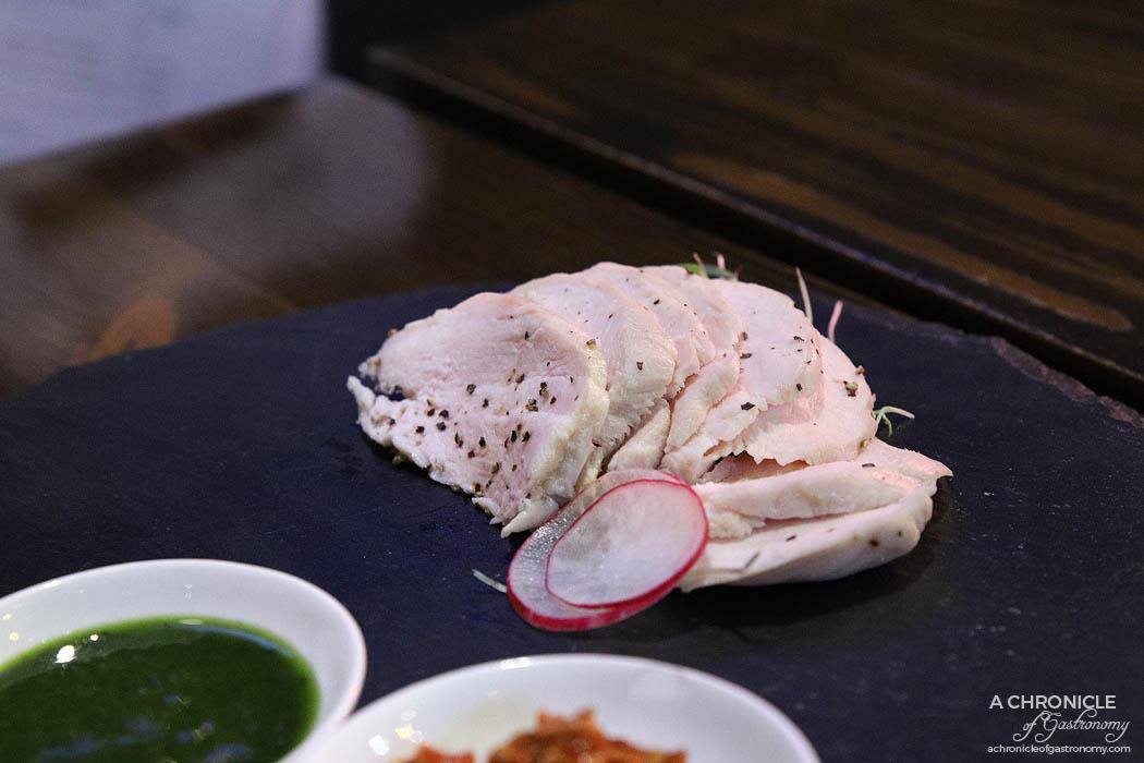 Izakaya Kuuraku - Chicken confit w basil sauce and fried garlic chilli sauce ($18)