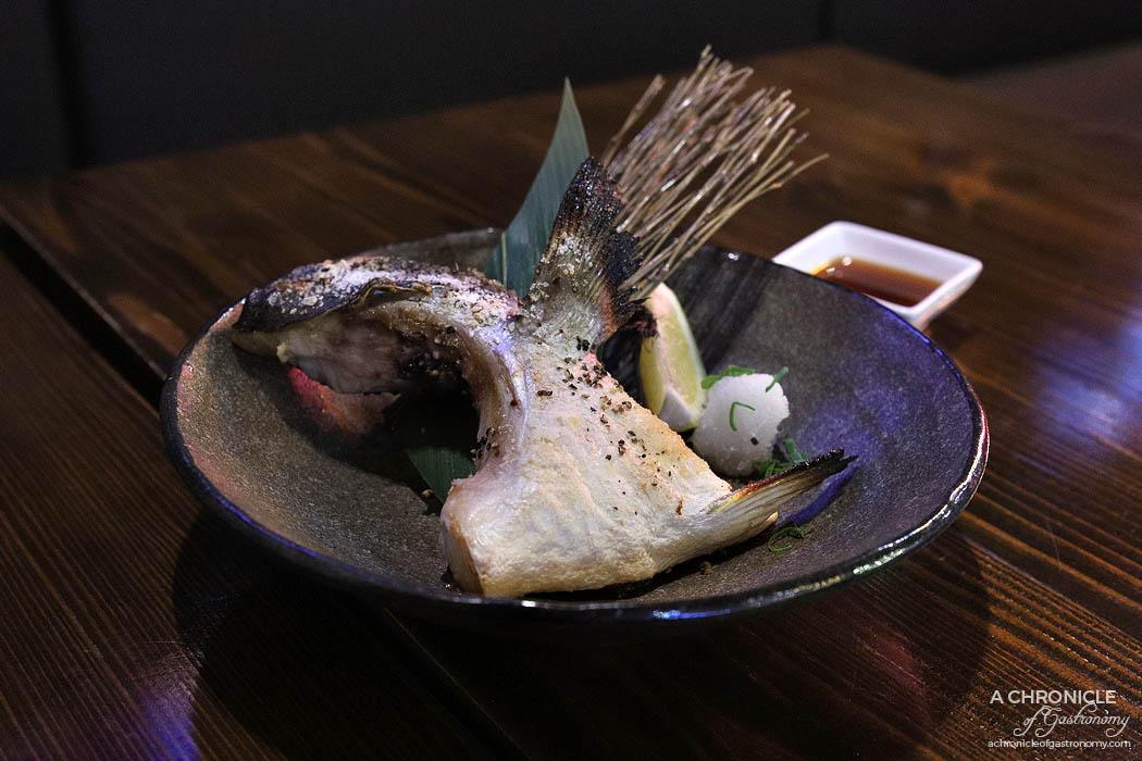 Izakaya Kuuraku - Kama Yaki - Grilled Kingfish cheek w ponzu, lime and radish ($15)