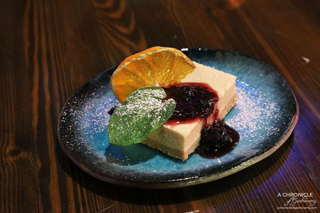Izakaya Kuuraku - Yuzu Cheese Cake - New York cheesecake served with berry compote ($12)