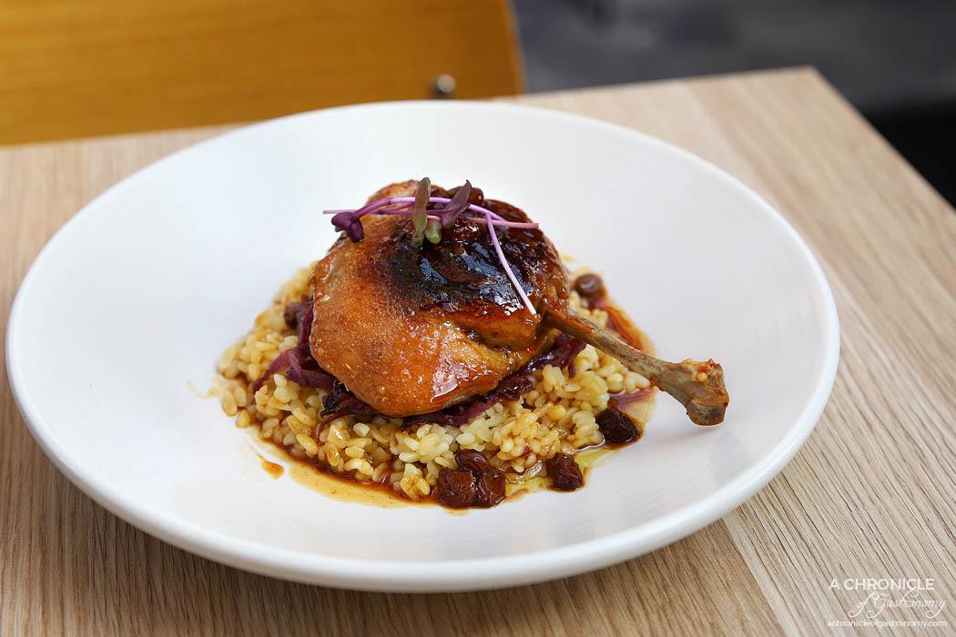 Pembroke - Duck maryland, red cabbage, bulgur wheat, raisins ($32)