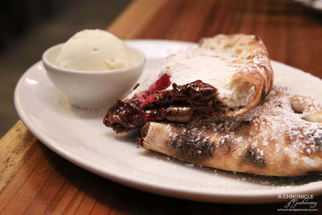 Pizza Farro Fitzroy - Nutella and Raspberry Calzone with vanilla bean ice cream