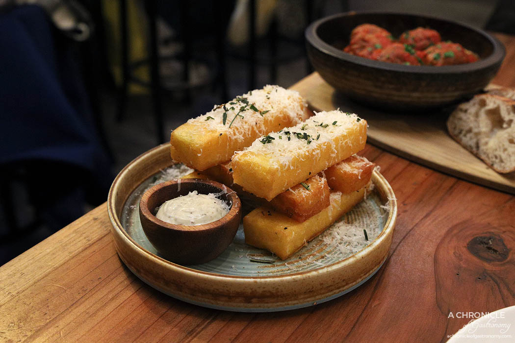 Pizza Farro Fitzroy - Polenta Chips - Golden crispy fried polenta chips, served with parmesan, rosemary & truffle mayo ($9.50)
