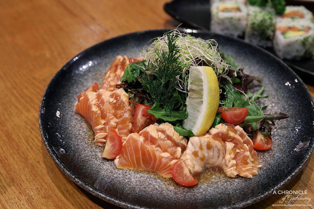 Matsumoto - Yuzu Salmon Tataki - Seared salmon served with Japanese pomelo dressing ($18)