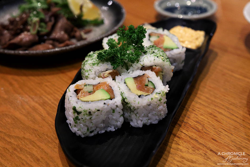 Matsumoto - Spicy Salmon Roll - Inside out rolls with fresh salmon, cucumber, avocado & spicy mayo (6 for $11)