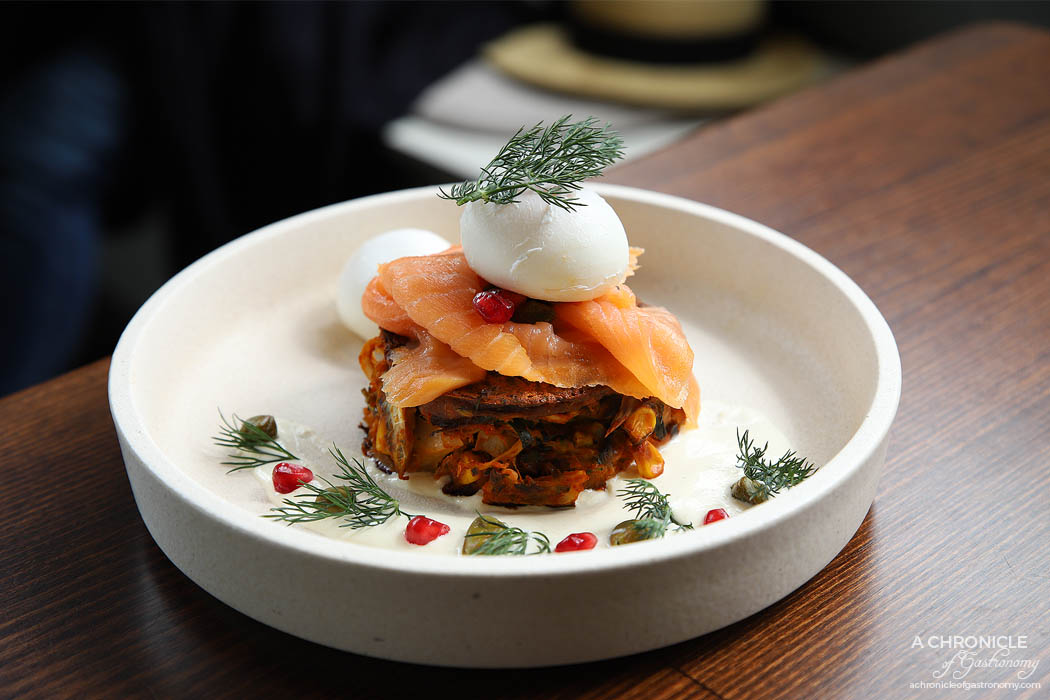 Cafe Louis - Smoked salmon with zucchini and corn fritters, horseradish cream, capers, poached egg, pomegranate seeds and dill + poached egg ($19+3)