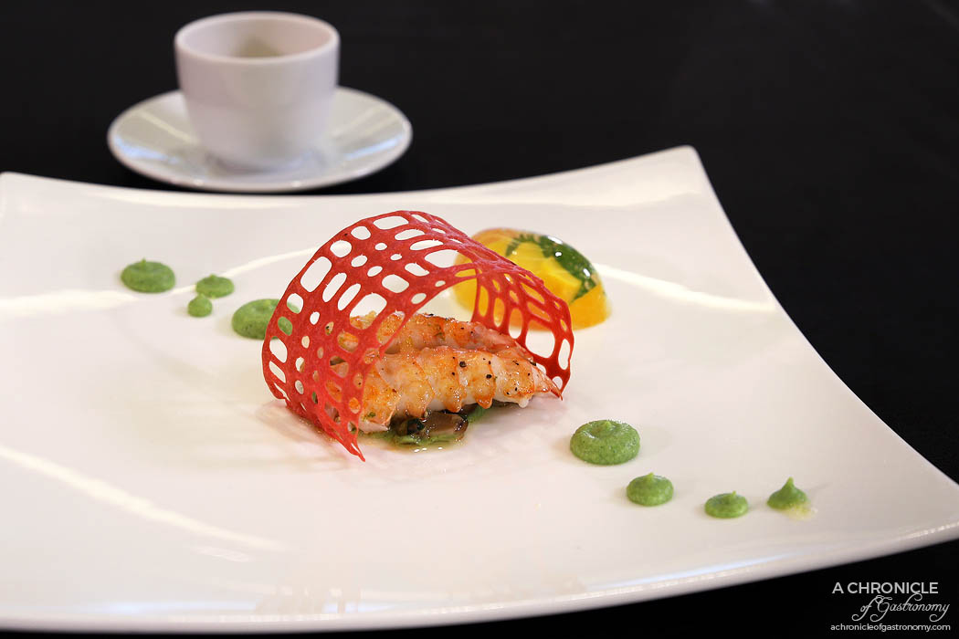 """Hyatt The Good Taste Series ASPAC Finals 2018 - """"Memories with my father"""" Steamed langoustine with yuzu sauce, fruit jelly, beetroot tuille, roasted porcini, broccoli puree - Sebong Oh, Commis Chef, Steakhouse, Grand Hyatt Seoul"""