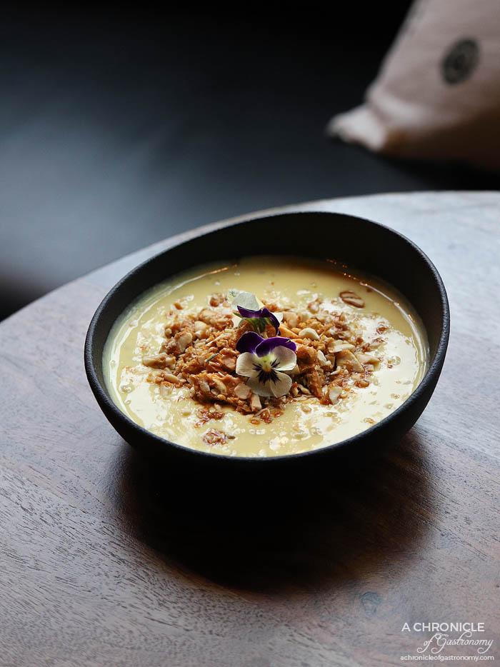 Ish - Saffron sago pearl pudding, jaggery praline, mixed nuts ($12)