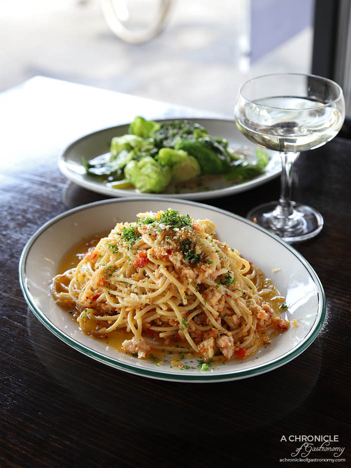 Ripponlea Food and Wine - Crab alla oglio spaghetti with chilli, garlic, white wine & extra virgin olive oil ($32,50) Pan fried Brussel sprouts, confit garlic & tahini dressing ($11)