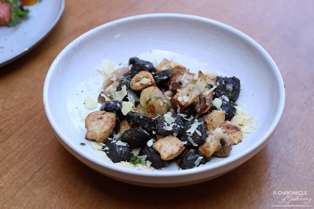 The Coventry - Gnocchi a la Noire - Home-made ink potato gnocchi, chunky porcini mushrooms, chicken pieces, fresh pesto, white wine sauce ($24.50)