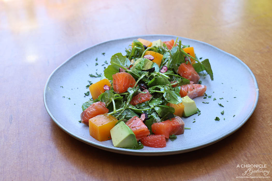 The Coventry - Citrus house cured salmon salad - Segmented grapefruit and cured salmon, avocado, mango and pomegranate salad, topped with citrus and garlic aioli dressing and fresh herbs ($24.50)