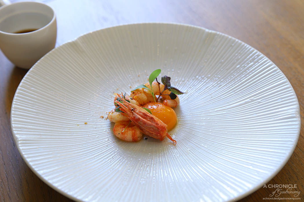 Lindenderry Red Hill - Torched Ama ebi prawns, vadouvan oil, Red Hill pullet egg, prawn head consomme