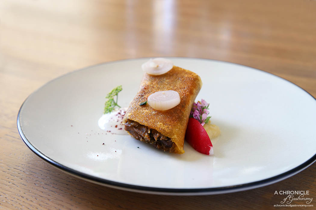 Lindenderry Red Hill - Seven Hills goat, braised and crisped in brik, smoked goat curd, pickled radish, rose, sumac, preserved lemon gel