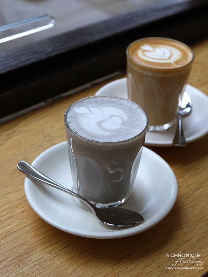High Society - Black Nougat Latte ($4.50) Latte ($4)