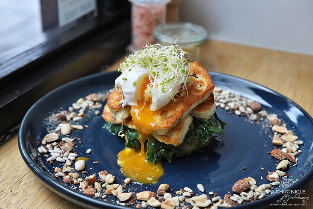 High Society - Halloumi w thyme-roasted field mushrooms, sauteed kale and spinach, mixed seeds and nuts, poached egg, potato rosti ($18)