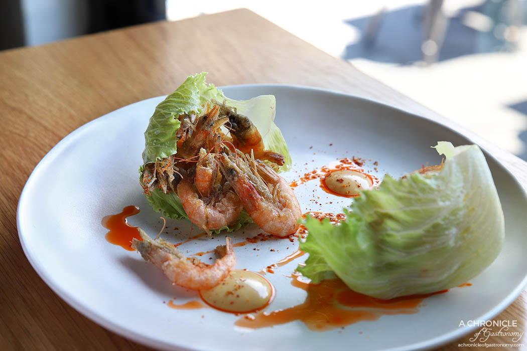 Messer - Crisp school prawns North Sea style with prawn oil and aioli