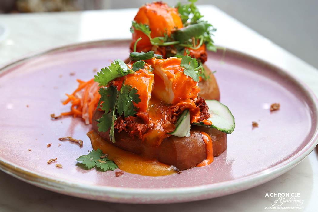 Flovie - Cha siu pulled pork + eggs benny - Mandarin hollandaise, pan-fried mantou, fresh cucumber, pickles, fried shallots ($20)