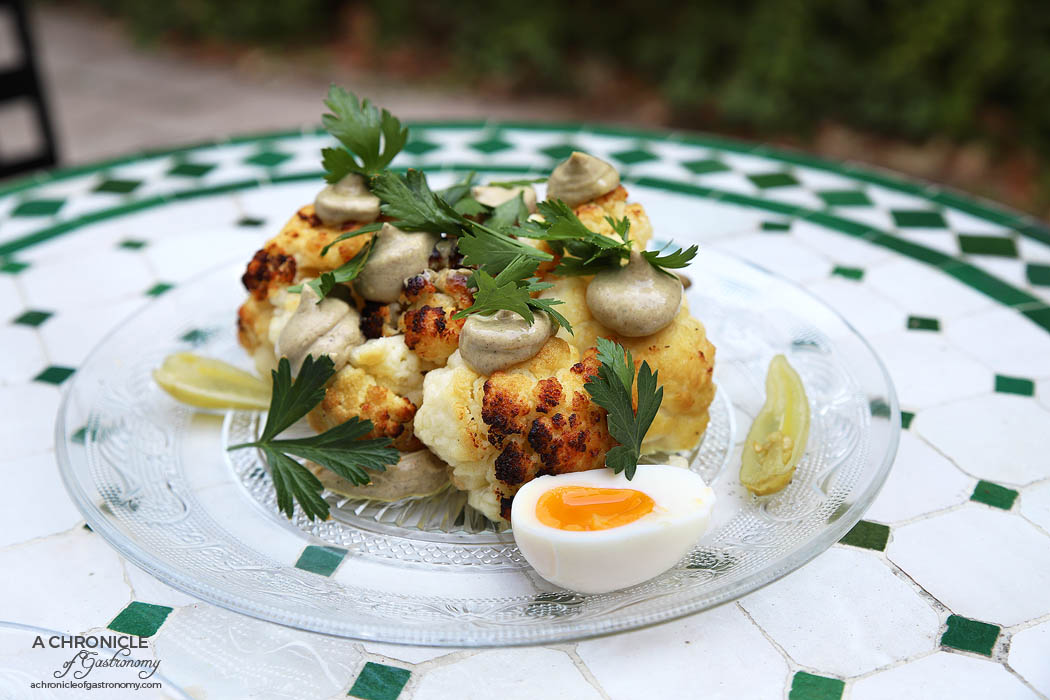 New Jaffa - Cauliflower - Roasted cauliflower, Middle Eastern spiced vegan mayo, soft-boiled egg, pickled green chillis, fresh parsley ($18)