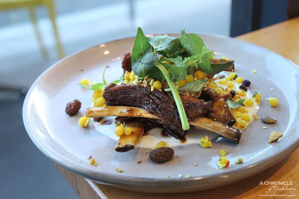 Infuse - Hoisin Lamb Ribs w turmeric Lebanese cous cous, vanilla labneh, pistachio dukkah ($18)