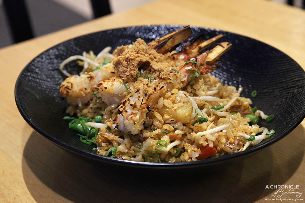 Infuse - Tom yum brown fried rice w pineapple, roast coconut prawn, snake bean, capsicum, crushed cashew nuts, bean shoots, spring onion, dried shallots, tuna floss ($18)