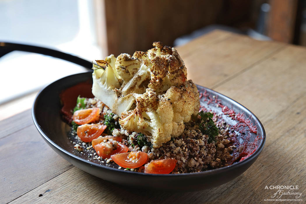 Ciel Cafe - Roasted Cauliflower - Beetroot hummus, kale, quinoa, cherry tomato topped with dukkah and lemon dressing ($18)