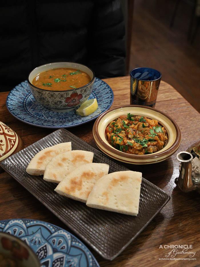 Casa Tajine - Zaalouk, Moroccan Harira with Lamb - Slow cooked combination of lamb with onion, coriander, celery, cinnamon, turmeric, ginger, saffron, fresh tomatoes, chickpeas, lentils ($7)