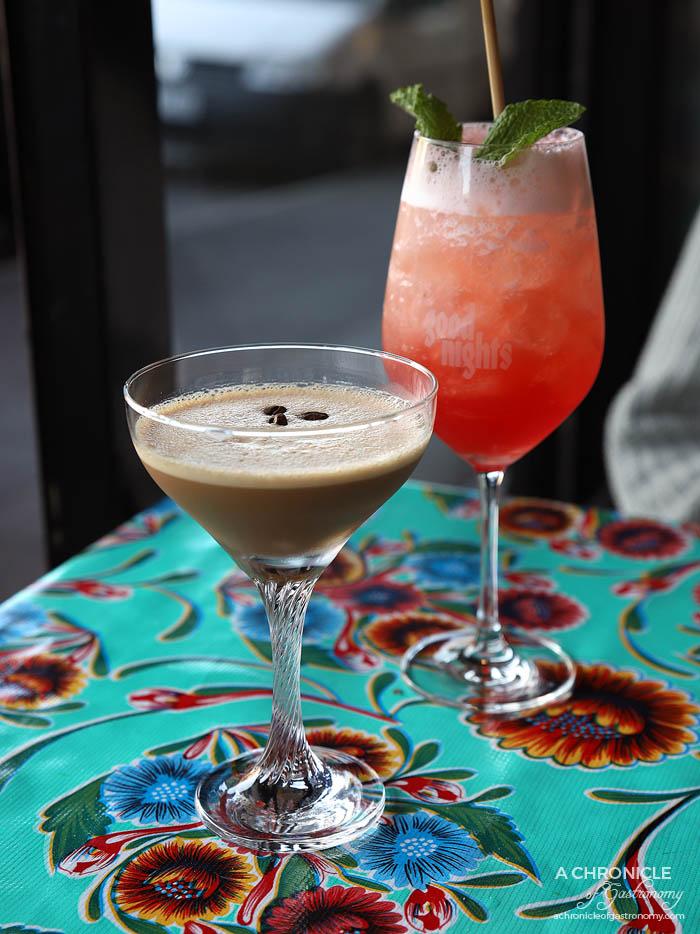 Strawberry Spritz - Campari, strawberry, lemon, Paul Louis Rose Cremant ($20), Viet Iced Coffee - Flor de Cana 'Spresso liqueur, Franklin Cafe cold brew, condensed milk, rum ($20)
