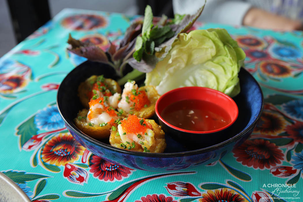 Good Nights - Banh Khot - Crispy coconut turmeric pancakes w prawns and tobiko, served with lettuce, herbsa nd nuoc cham ($14)