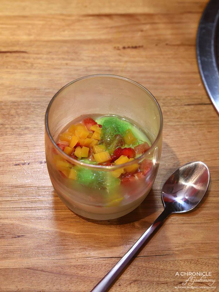 Co Hanh - Coconut Panna Cotta - Coconut panna cotta, pandan granita, strawberry pearls, jackfruit and berries