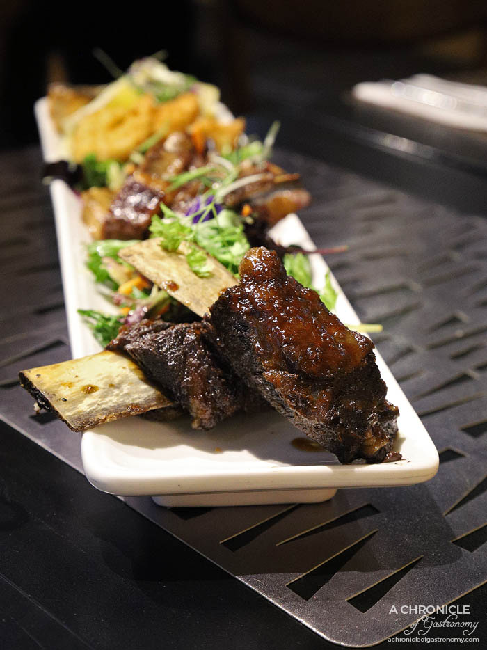 Ginger Olive - BBQ Grazing Platter - Char siu lamb ribs, grain fed beef short ribs with maple BBQ glaze, lime and palm sugar BBQ chicken with soy glaze, grilled salmon, crumbed prawns
