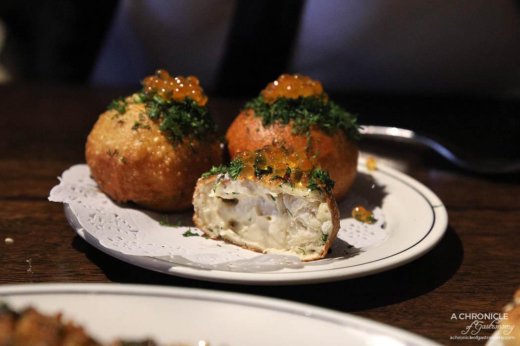 Maha East - Fried bun, taramasalata, salmon caviar, dill ($12.50 ea)