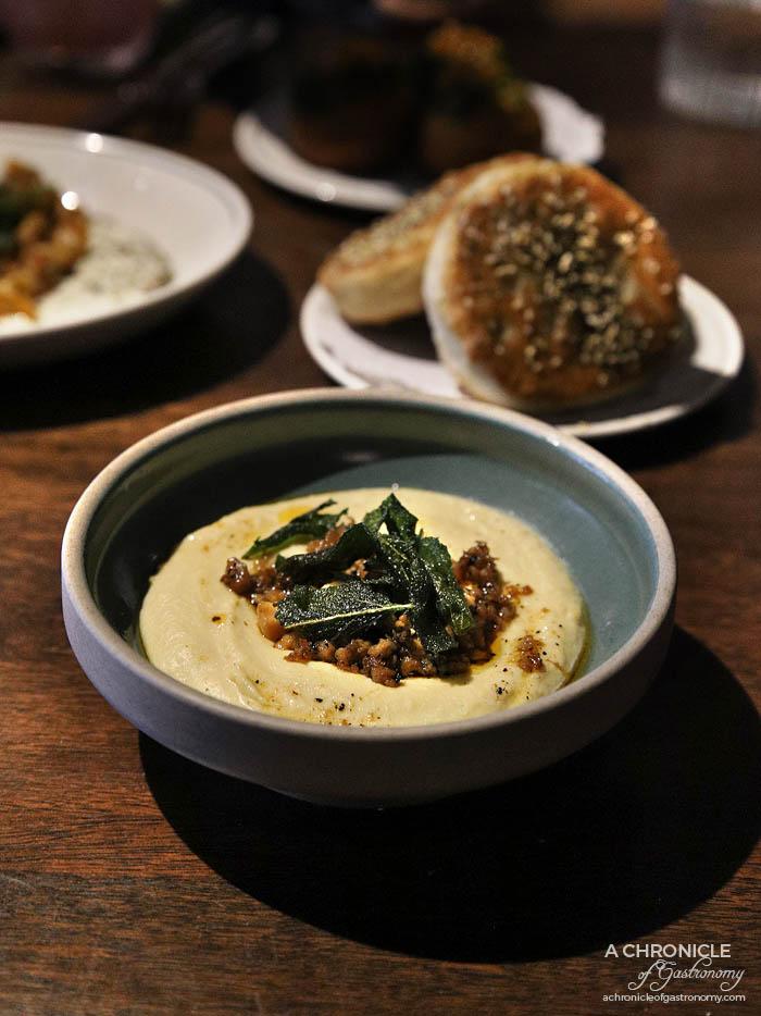 Maha East - Hummus, chicken, macadamia, sage, our bread ($15)