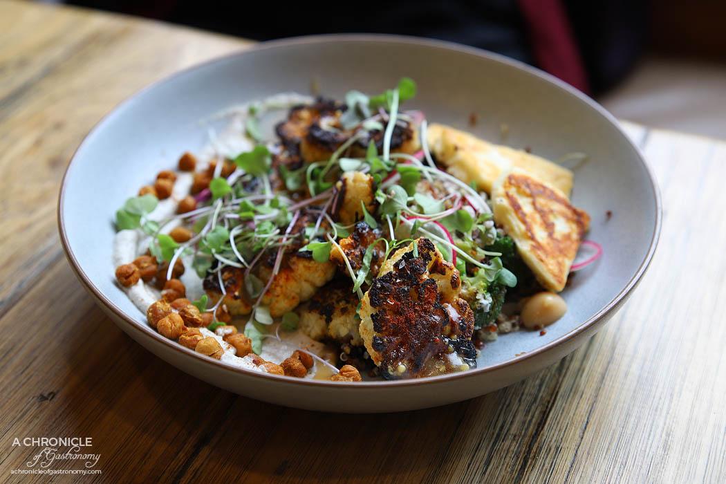Oppen - Cauliflower Steak - Quinoa + Chickpeas + Charred Broccoli + Radish + Currants + Sunflower Cream + Pepitas + Halloumi ($18+5)