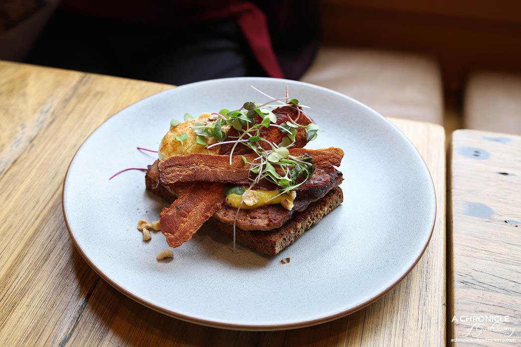Oppen - Grilled Pork Liver Terrine + Crisp 63C Egg + Fennel Jam + Hazelnut + Bacon ($15)