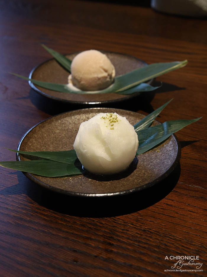 Gogyo Fitzroy - House made yuzu sorbet, red bean ice cream ($5 ea)
