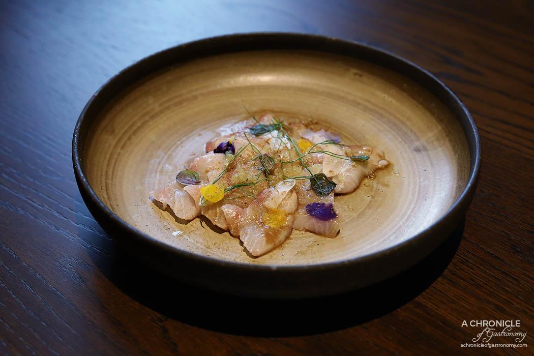 Gogyo Fitzroy - Kingfish Carpaccio - Kingfish, fennel pickle, finger lime, sansho pepper sauce ($22)