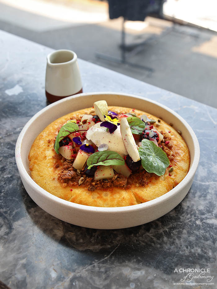 Otto Melbourne - Hotcake - Slow cooked apple, blueberry gel, hob nob, butter scotch sauce, caramelised grains and mascarpone ($17.90)