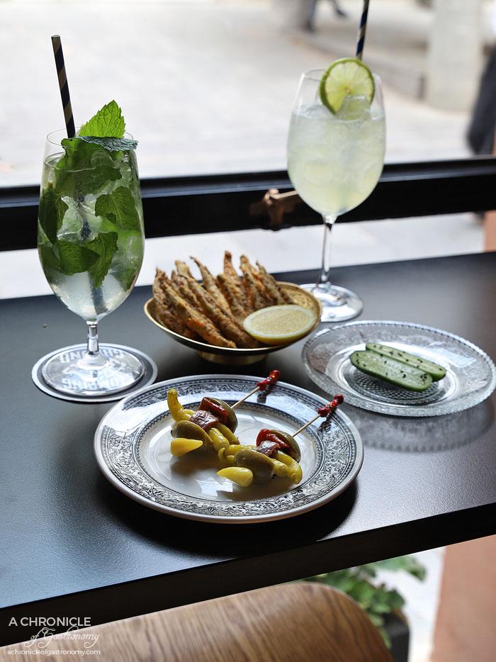 Bar Saracen - Gilda - Anchovy, guindillas, green olive, labneh, bullhorn pepper ($6ea) Okra - Besan, cumin, sea salt, lemon ($9) Cucumber