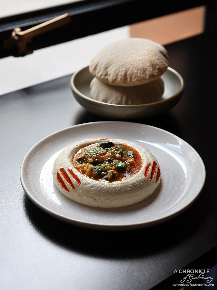 Bar Saracen - Hummus Bi Crustacea - Fraser Island Spanner crab, Mooloolaba king prawns ($22) Aish Biladi - Egyptian pita bread made with Tuerong Farm flours
