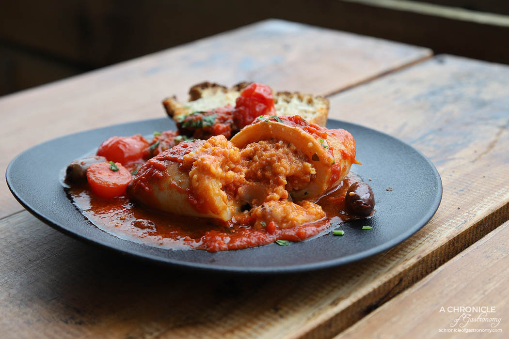 Shop 225 - Calamaro Piccante - Calamari filled with breadcrumbs, nduja and potato, served with a cherry tomatoes and olive sauce ($18)