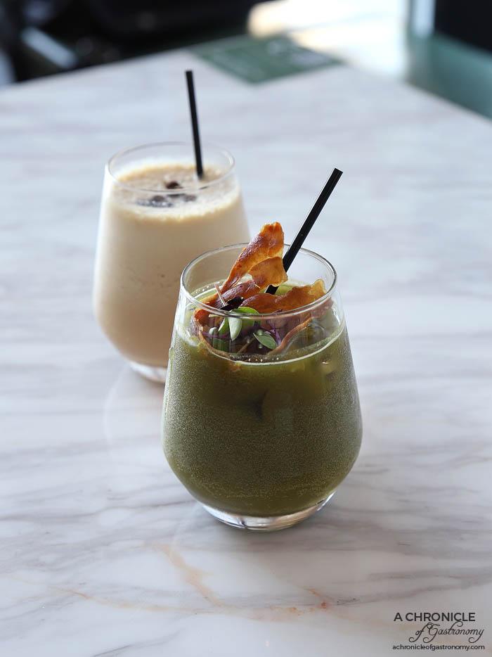 Zero Mode - Japanese Mode - Gin, sake, yuzu citrus, matcha soda, shiso leaves and fried prosciutto ($20) Coffee Mode - White rum, Baileys, espresso, Kahlua, ice cream ($17)