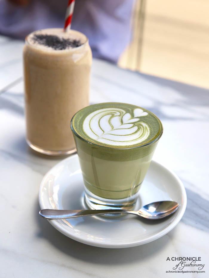 Riche - Matcha Latte ($5,50) Morning Glory - Granola, banana, natural yoghurt, honey, coconut water and coconut ($9)