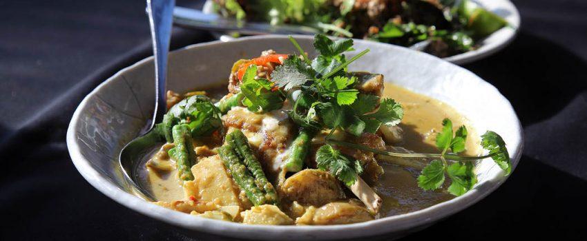 Bang Pop Saltgrass lamb ribe jungle curry - Northern Thai curry w green peppercorns, krachai, kaffir lime, snake beans, Thai eggplant, young bamboo