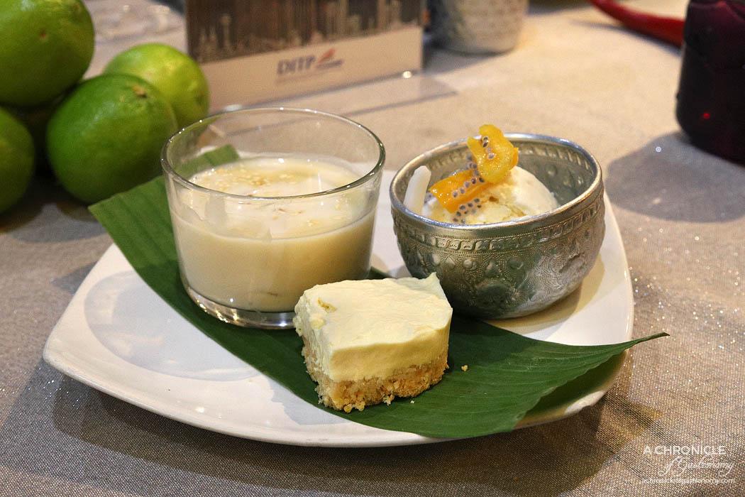 Jing Jai Thai Coconut ice cream, mini rice dumplings, durian cheesecake